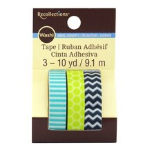 Lime & Blue Print Washi Tape by Recollections